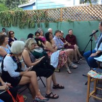 San Diego 2016, 'Coffee with Kafka' in Kathi Diamant's garden